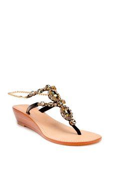 c75f9aa01 Rhinestone Bora Wedge Thong Sandals - TrinaTurk  250 Trina Turk