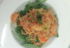 Heidi's pasta met gamba's in saus van zongedroogde tomaten en witte wijn