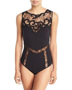 84a5ca826a1 GOTTEX Sea Romance Embroidered Lace High-Neck One-Piece Swimsuit Black $295  FREE S&