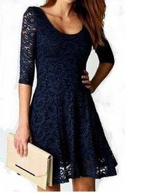 Stylish Navy Lace Dress with 3/4 Sleeve