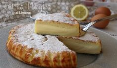 Torta al limone cremosa ricetta dolce senza farina Biscotti, Camembert Cheese, Buffet, French Toast, Dairy, Gluten Free, Sweets, Fruit, Cooking