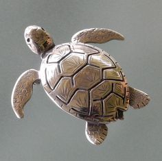 sterling silver Sea Turtle Brooch by BobsWhiskers on Etsy, $95.00