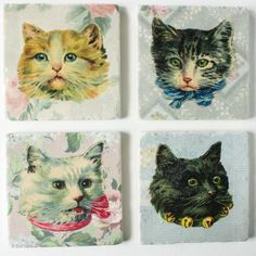 set of 4 coasters - fancy ass vintage cats by Versa Tile, Ottawa Ontario