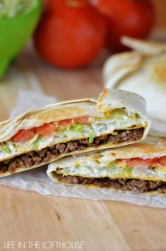 Taco Bell Crunchwrap Supreme (Copycat)~ Seasoned ground beef, nacho cheese, a crunchy corn tortilla, sour cream, lettuce and tomato all wrapped inside a large flour tortilla Mexican Dishes, Mexican Food Recipes, Beef Recipes, Cooking Recipes, Recipies, Yummy Recipes, Salad Recipes, Cooking Ribs, Fondue Recipes