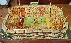 The Incredible Snack Stadium--super way to serve snacks for the ultimate Super Bowl party!