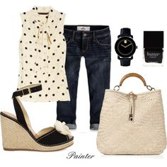 Black white polka dot top, denim capris or jeans, black wedges.- maybe with denim shorts instead of capris, and black sandals instead of wedges. Cute Summer Outfits, Spring Outfits, Cute Outfits, Outfit Summer, Weekend Outfit, Summer Clothes, Capri Outfits, Casual Outfits, Formal Outfits