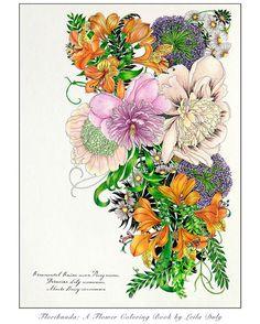 finished! Floribunda: A Flower Coloring Book, Ornamental onion Peony page.…