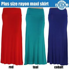3b3685ec977c6 Curvy Plus Size Classic Solid Rayon Maxi Stretchy Skirt 1X 2X 3X Red Cobalt  Blue Teal