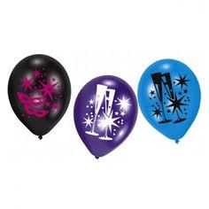 Ballonnen met feestelijke opdruk. Feestelijke ballonnen met afbeeldingen van champagne glazen, sterren en maskers. Afmeting: Ca. 23 cm.