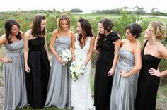 Beautiful bridesmaids' gowns by Monique Lhuillier / Photography by troygrover.com