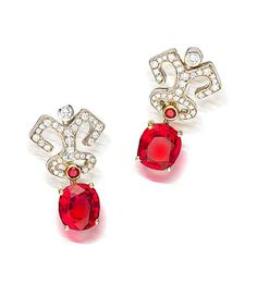 A pair of red spinel and diamond earrings, Garrard