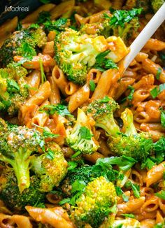 Penne with broccoli, tomato sauce, garlic, onion and oil cooked in one pan and topped with cheese for an easy healthy dinner recipe. | ifoodreal.com