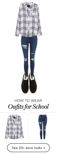School outfit ☺ by serafinaacosta on Polyvore featuring Vans, Topshop and Rails