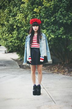 red white and blue with platforms