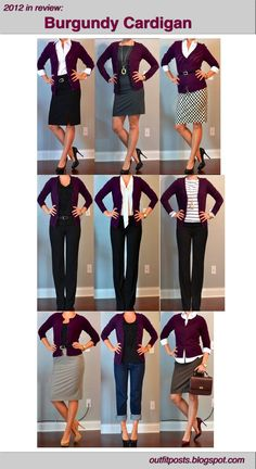 Outfit Posts: 2012 in review - outfit posts: burgundy cardigan>  I love these dark colors for cardigans.