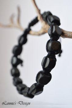 Black Unisex Bracelet Black Men's Bracelet Wooden by LanniesDesign #black #wooden #gemstone #agate #braided #knotted #knot #sliding #adjustble #knots #mens #gentlemen #groomsmen #giftidea #gift #father #husband #brother #brotherinlaw #fatherinlaw #papa #daddy #couplesbracelet #couple #bracelet #bracelets #jewelry #jewelries
