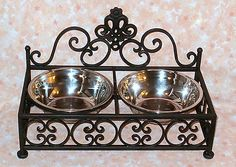NEW~Black+Wrought+Iron+Pet+Food+Water+Dish+Set+Bowls+Stand+Double+Feeder+Dog+Cat