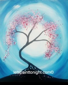 CHERRY BLOSSOMS AND THE MOON simple acrylic painting. 16x20 canvas,
