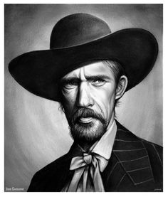 John Carradine by Greg Joens Caricatures, Ford Company, John Carradine, Randolph Scott, John Ford, Cowboy Art, Graphite Drawings, Western Movies, Portraits