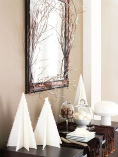 So pretty!  complementary hued desserts served cloche covered glass stands and white containers. glue twigs to mirrors and frames. add beaded velvet runners and snowy trees
