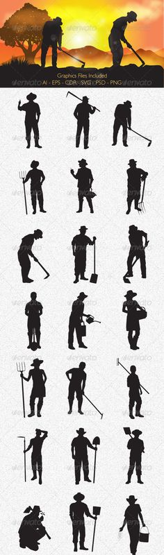 Farmer Silhouettes  #GraphicRiver         Farmer Silhouettes vector design.