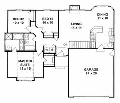 Plan #1162 - Ranch style small house plan w/ Master Suite