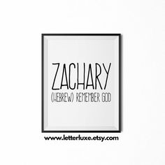 Zachary Name Meaning Art  Printable Baby by LetterLuxePrintables