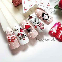 Nail Art Noel, Xmas Nail Art, Christmas Nail Art Designs, Winter Nail Art, Winter Nails, Christmas Gel Nails, Holiday Nails, Fall Acrylic Nails, Acrylic Nail Designs