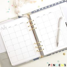 PenGems Planner Printable A5 Month on Two Pages