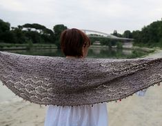 A delicate, elongated shawl knitted sideways in a variation of a traditional estonian stitch.