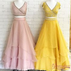 V-Neck Two Piece Layered Yellow Prom Dress · Sugerdress · Online Store Powered by Storenvy Best Formal Dresses, Stylish Dresses, Fashion Dresses, Indian Designer Outfits, Designer Dresses, Party Wear Dresses, Prom Dresses, Party Dress, Classy Evening Gowns
