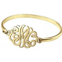 "Alison & Ivy - Classic Monogram 7""""Bangle Bracelet 22x33mm -... ($255) ❤ liked on Polyvore featuring jewelry, bracelets, bracelets & bangles, initial bangle bracelet, monogram jewelry, initial bangle and letter jewelry"