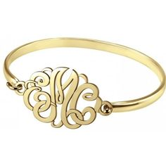 Alison & Ivy - Classic Monogram 7 Bangle Bracelet 22x33mm -... ($255) ❤ liked on Polyvore featuring jewelry, bracelets, bangle jewelry, ivy jewelry, letter jewelry, monogram bangle and hinged bangle