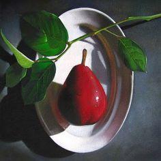 """Red Pear  6x6"" - Original Fine Art for Sale - © M Collier"