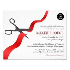 Custom Simple Red Ribbon Cutting Grand Opening Announcement created by corporateoccasions. This invitation design is available on many paper types and is completely custom printed. Invitation Card Format, Invitation Maker, Business Invitation, Printable Invitation Templates, Invitation Card Design, Invitation Wording, Invitation Ideas, Corporate Invitation, Zazzle Invitations