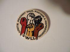 Protest Pin Back Vietnam Button 1960's YWLL Unite Against War Racism Repression