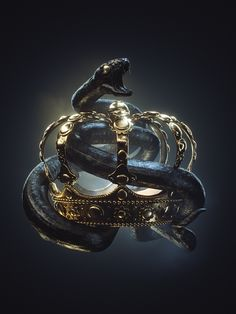 Ksenia Dobrovitskaya on Behance 3d Fantasy, Dark Fantasy, Polen Tattoo, Black Art, Black Gold, Black And Gold Aesthetic, Crown Aesthetic, Snake Art, Or Noir