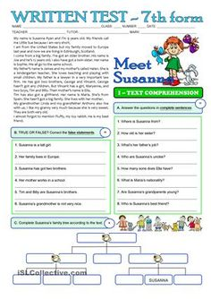 SUSANNA'S FAMILY - 3 page TEST - 7th grade