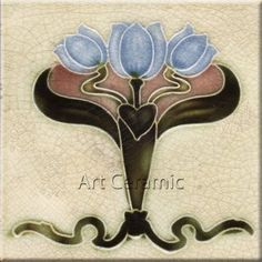 "Art Nouveau Reproduction Ceramic tile 6"" #6"