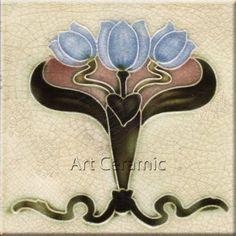 """Art Nouveau Reproduction Ceramic tile 6"""" #6"""