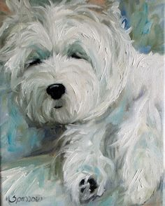 SPARROW West Highland Terrier Westie white dog oil portrait original mssmith art | eBay