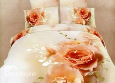 Exquisite Peony Blossom Printed 4 Piece Warm-toned Cotton Bedding Sets (10489504)