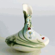 Franz Porcelain Ladybug small oval vase - Cost $250.00  -  please click image for more info...