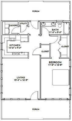 #shed #backyardshed #shedplans 28x32 House -- #28X32H1B -- 895 sq ft - Excellent Floor Plans