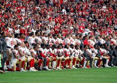 I respect this...Members of the San Francisco 49ers kneel during the national anthem as others stand during the first half of an NFL football game against the Arizona Cardinals. Striving for a compromise in their support for the NFL and anthem protests. Many of the standing players placed one hand on their heart, the other on the shoulder of a kneeling teammate in a sign of solidarity.  Sunday, Oct. 1, 2017, in Glendale, Ariz. (AP Photo/Rick Scuteri)