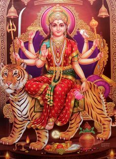 Receive Nine-Fold Blessings from Powerful Forms of Goddess Durga on Auspicious Ugadi. Durga Images, Lakshmi Images, Durga Kali, Shiva Shakti, Shiva Art, Hindu Art, Navratri Wallpaper, Navratri Puja, Vaishno Devi