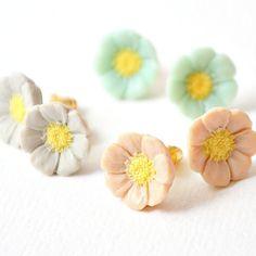 Pale Pastel Flower Studs Gift Set by NestPrettyThingsShop on Etsy, $30.00