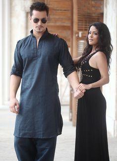 Blue jacquard wear pathani suits