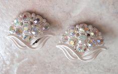 Lightweight White Earrings Plastic AB Rhinestones Floral