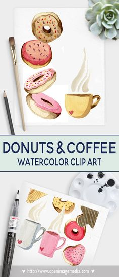Donuts and Coffee Valentines Day Clip Art